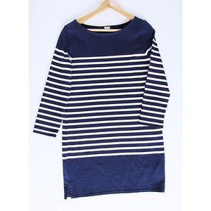 J. Crew Dresses - Navy & Cream Striped J. Crew Sweater Dress Size S